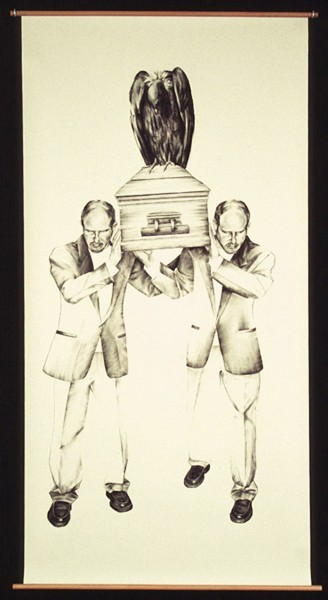 Julie Comnick | Pallbearers | 2003 | Charcoal on paper | 83″ x 42""