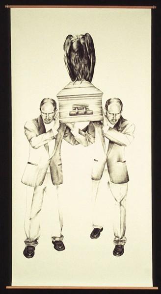 "Julie Comnick   Pallbearers   2003   Charcoal on paper   83″ x 42"""